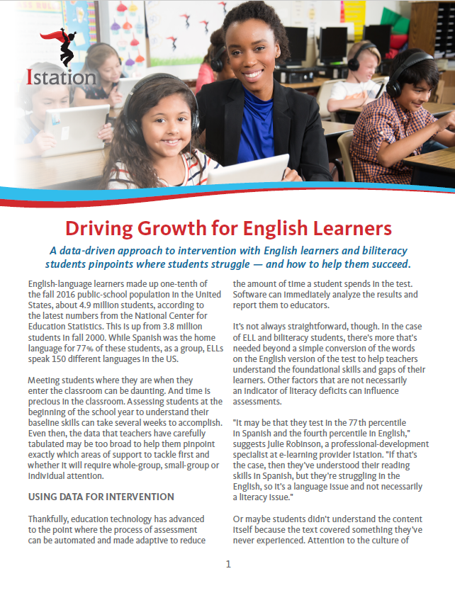Driving Growth for English Learners Cover